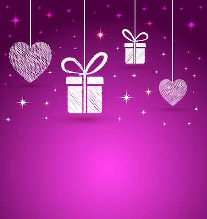 trendy harten en geschenkdoos vorm wenskaart