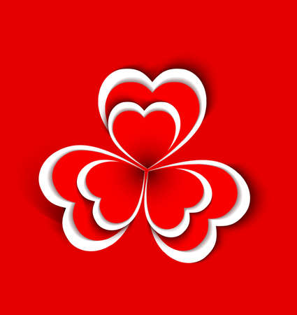concept flower from  paper hearts shape Vector