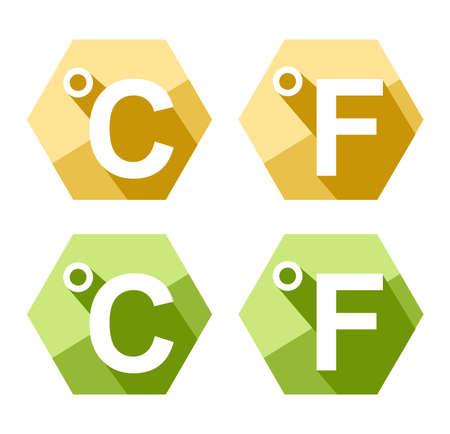 celcius: flat design Celsius and Fahrenheit symbol icon set isolated on white Illustration