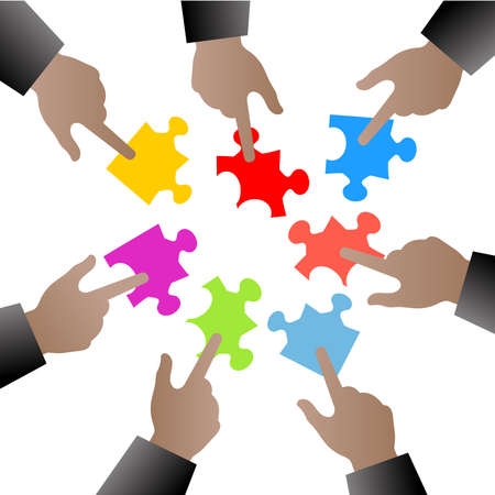 people hand with puzzle pieces-illustration concept Illustration