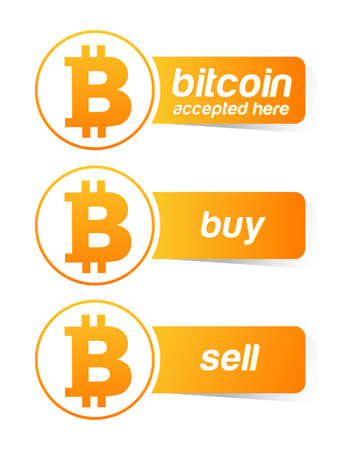 Bitcoin sticker banner set Vector