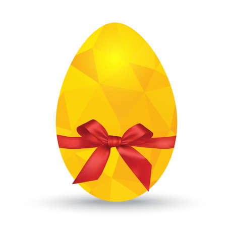 polygonal egg with gift bow isolated on white Vector