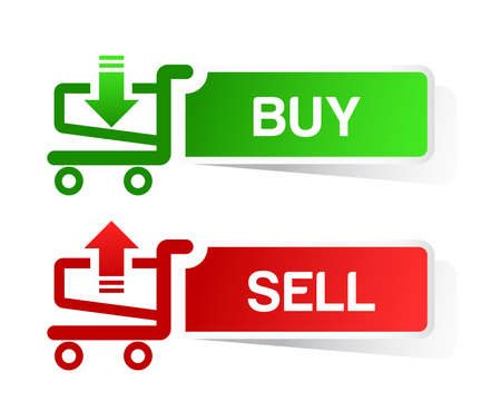 sticker shopping cart item, trolley, BUY  SELL button Vector