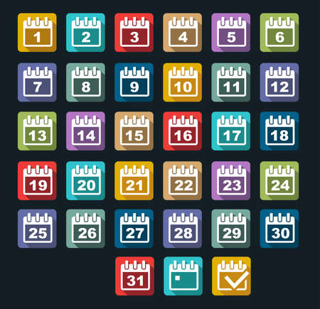 make my day: flat design Calendar Day icons set with long shadow