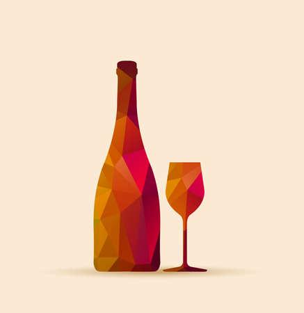polygonal glass and bottle - Restaurant Bar menu Vector