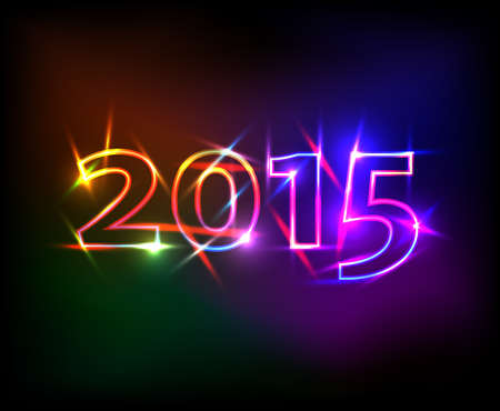 2015 number with colored neon lights effect Illustration