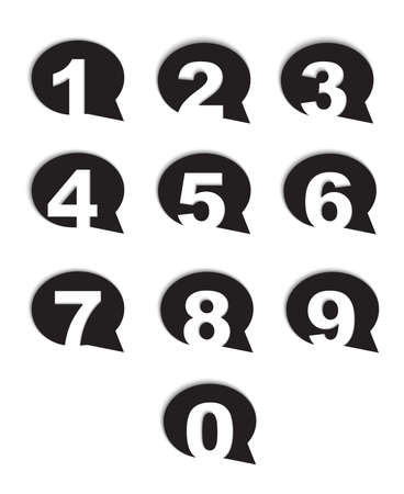 bubble conversation numbers icons set isolated Vector