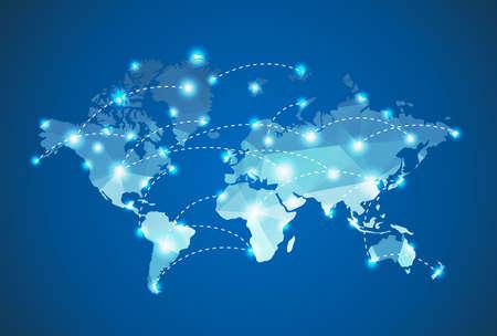 conexiones: Mapa del Mundo poligonal con efectos focos