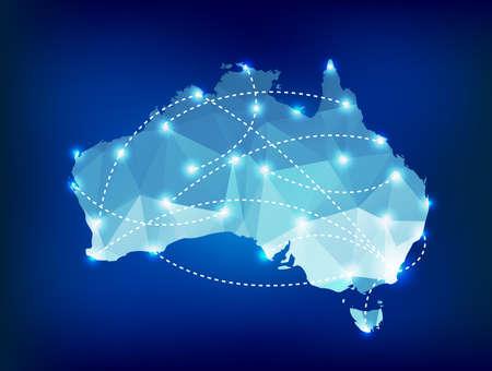 Australië landkaart veelhoekige met spots plaatsen