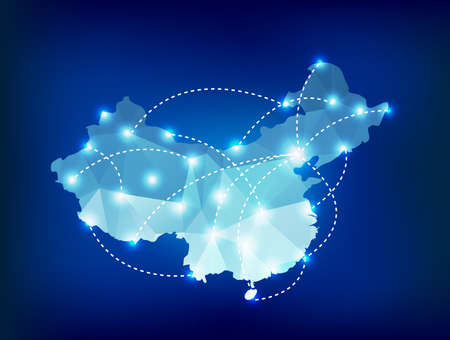 China country map polygonal with spot lights places 向量圖像