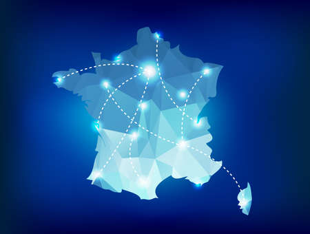 spot lights: France country map polygonal with spot lights places Illustration