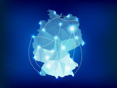 Germany country map polygonal with spot lights places Illustration