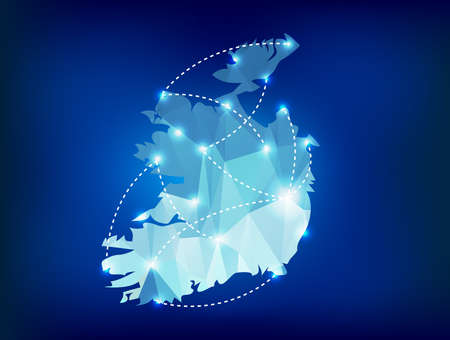 dublin: Ireland country map polygonal with spot lights places