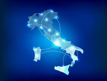 Italië landkaart veelhoekige met spots plaatsen