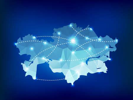 kazakhstan: Kazakhstan country map polygonal with spot lights places