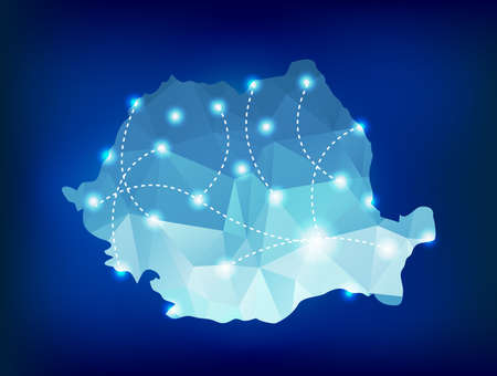Romania country map polygonal with spot lights places Vectores