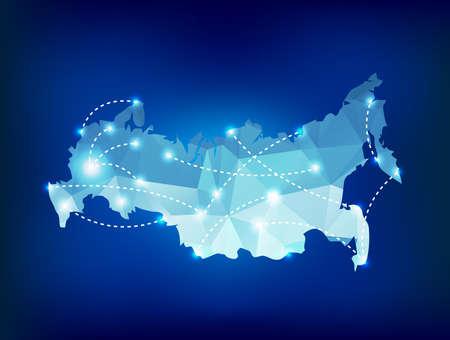 Rusland landkaart veelhoekige met spot lights plaatsen Stock Illustratie