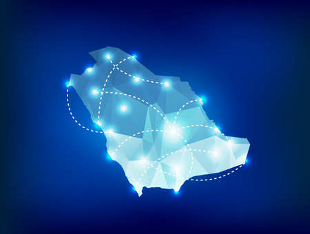 Saudi Arabia country map polygonal with spot lights places Vector
