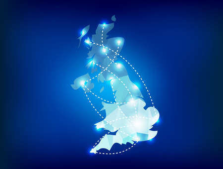 futuristico: Mappa del paese UK poligonale con faretti posti