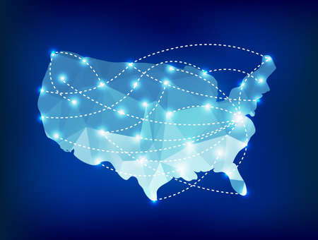 USA country map polygonal with spot lights places