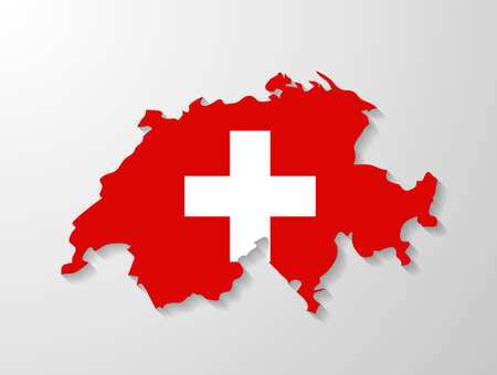switzerland flag: Switzerland flag map with shadow effect Illustration