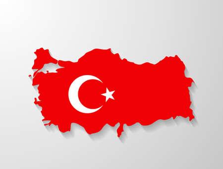 Turkey flag map with shadow effect Ilustracja