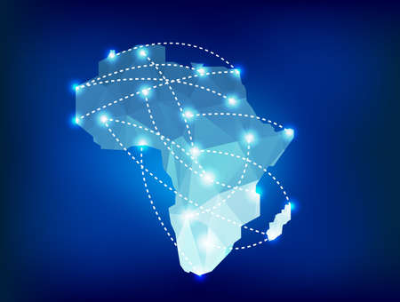 Africa map polygonal with spot lights places 向量圖像