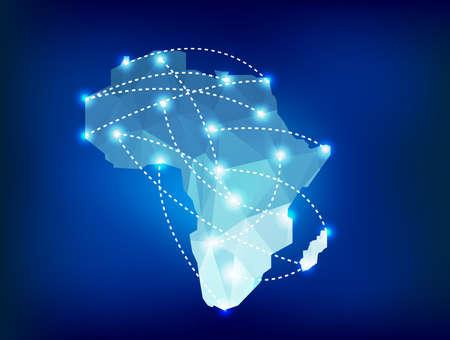 Afrika-Karte polygonal mit Spotleuchten Orte