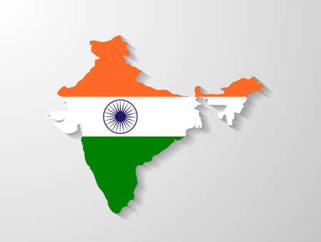 drapeau inde: Inde carte indicateurs avec effet d'ombre