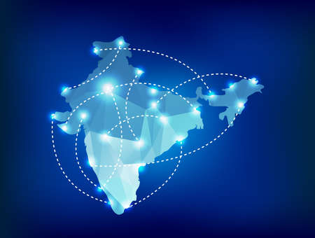 India country map polygonal with spot lights places