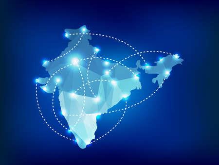 India landkaart veelhoekige met spots plaatsen