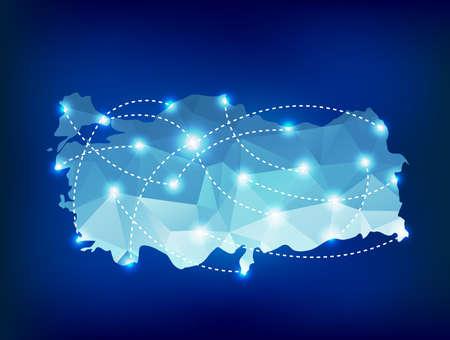 Turkey mapa země polygonální s bodovými světly míst