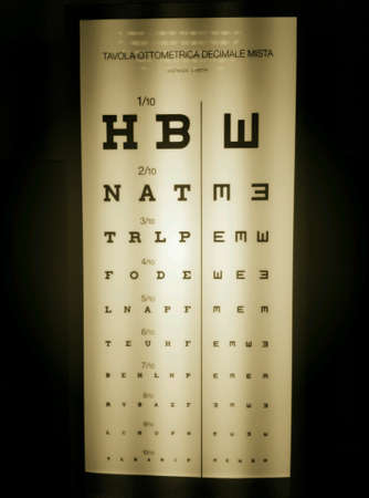 eye: Illuminated standar vision tests Stock Photo