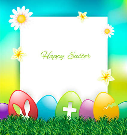 Easter greeting card with colorful eggs on grass