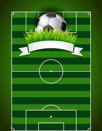 pitch: Football soccer ball on green field background presentation Illustration