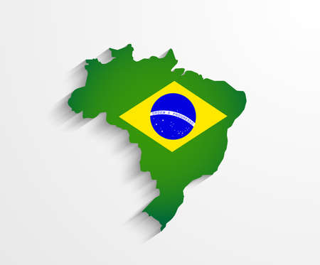 world map countries: Brazil flag map with shadow effect presentation