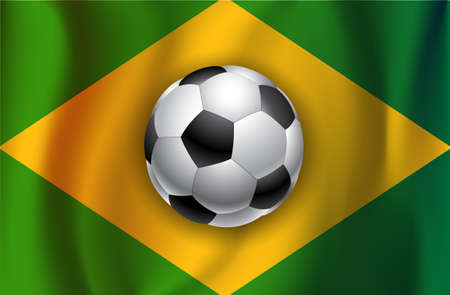 Brazilian country flag with soccer  ball  2014