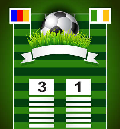 final: Soccer scoreboard design on field with copy space  background Illustration