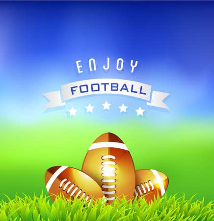 Football American balls on green field - sport background Vector