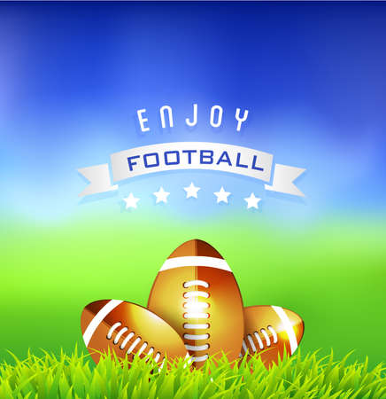Football American balls on green field - sport background Vector