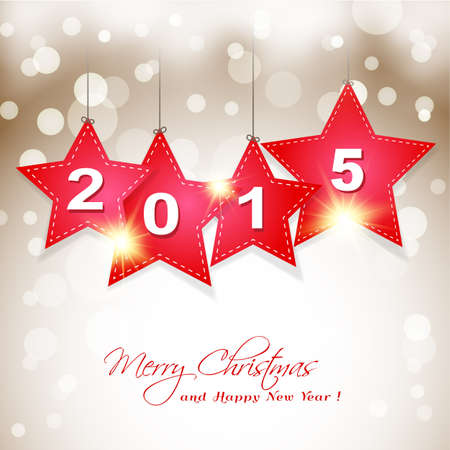 hanging  2015 star on magical winter background greeting card Vector