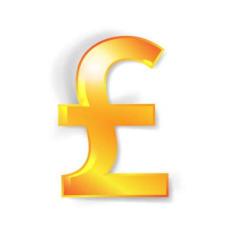 libra esterlina: Signos de moneda esterlina con efecto de sombra aislado