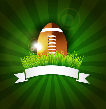 pelotas de futbol: Rugby, f�tbol americano bola en el c�sped con la bandera
