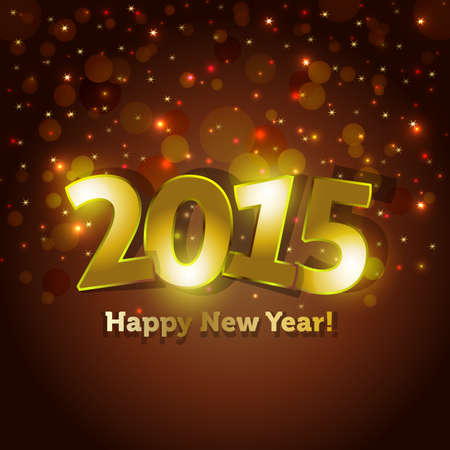 golden 2015 Happy New Year greeting card with sparking spot lights background Illustration