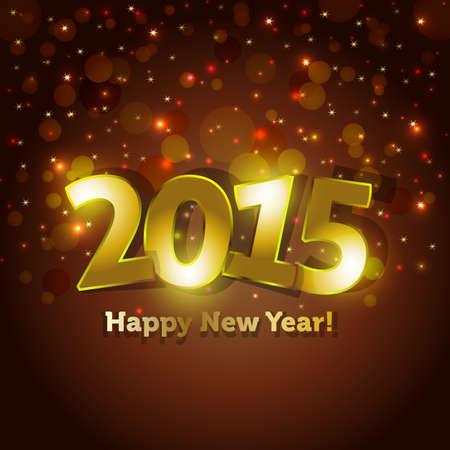 nouvel an: or 2015 Happy New Year carte de voeux avec des �tincelles spots fond