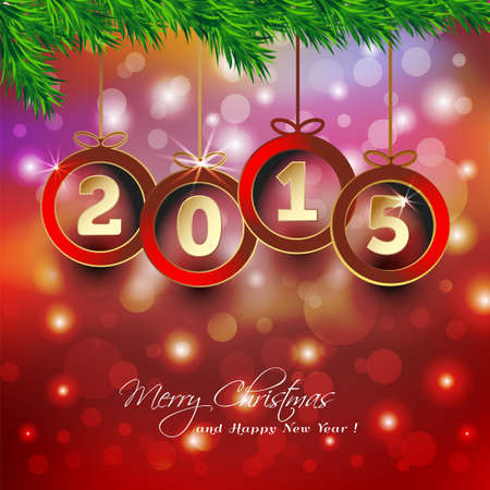 Bonne année 2015 arrière-plan avec boule de Noël Banque d'images - 29073154