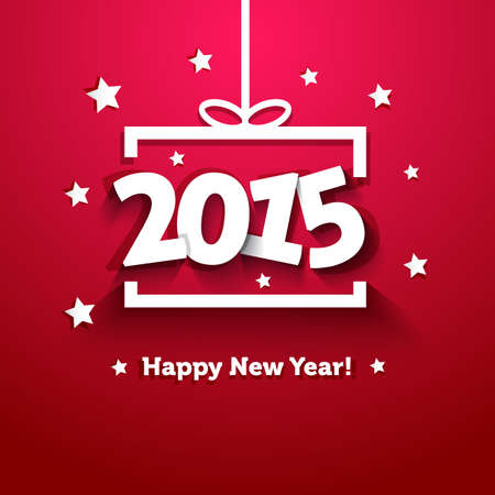 new year's: white paper gift box 2015 new year greeting card