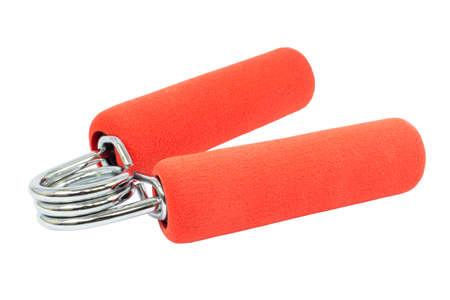 strengthen hand: red hand gripper on white background Stock Photo