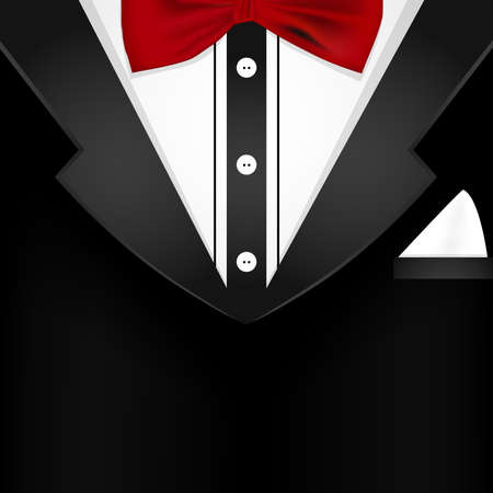 men shirt: Business tuxedo background  with a red bow tie and copy space