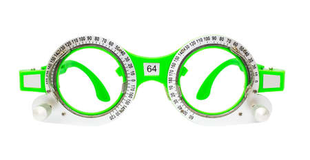 Green Spectacles used for eyesight tests isolated on white background Stock Photo